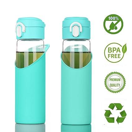 Botella Cristal Agua Silicona Taza Café Viaje Vidrio Libre de bpa Water Bottle Glass Travel Mug