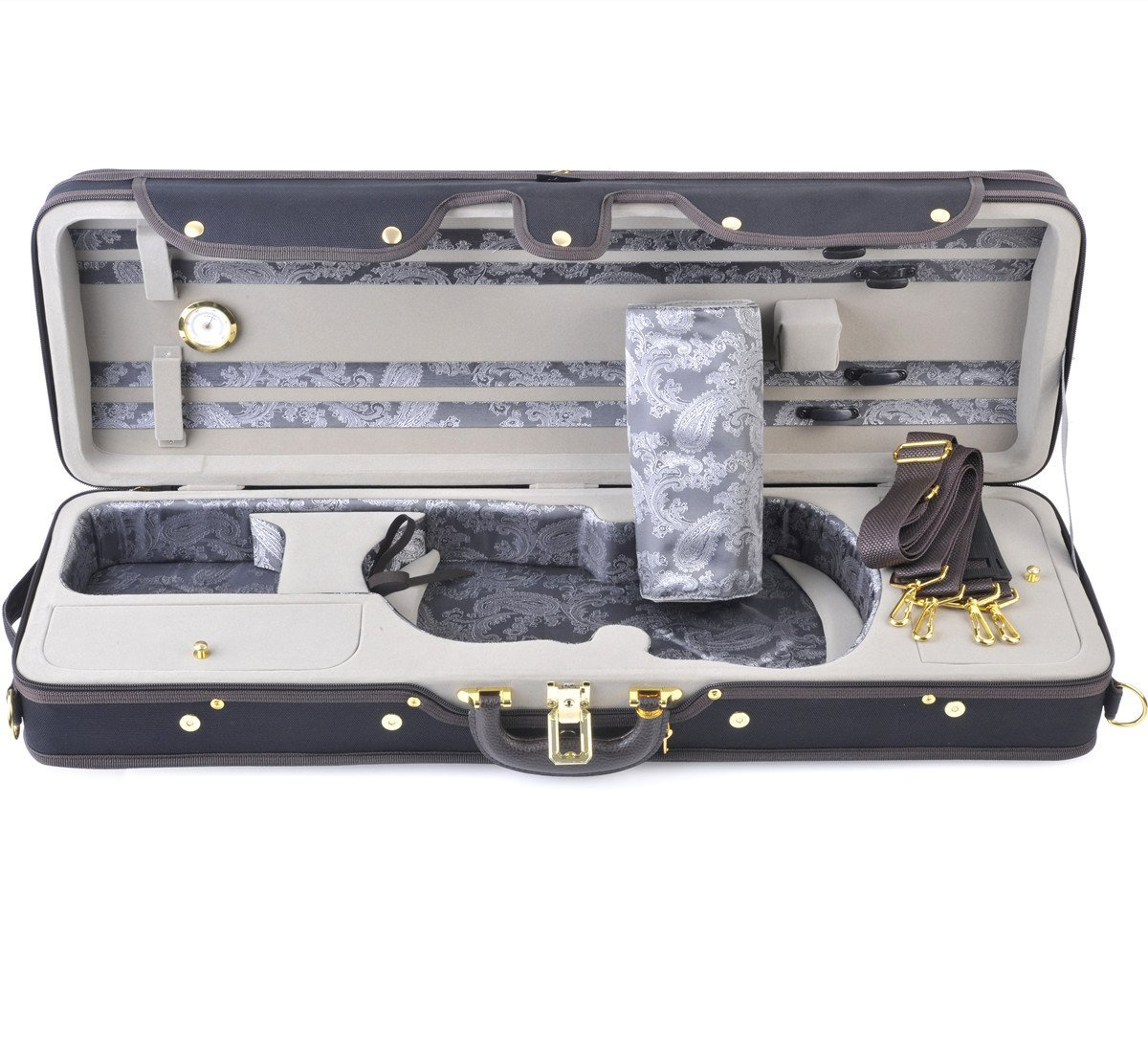 ADM 4/4 Full Size Durable Deluxe Silk Violin Hard Case with Hygrometer and Carry Strap, Professional Advanced Intermediate Violin Case