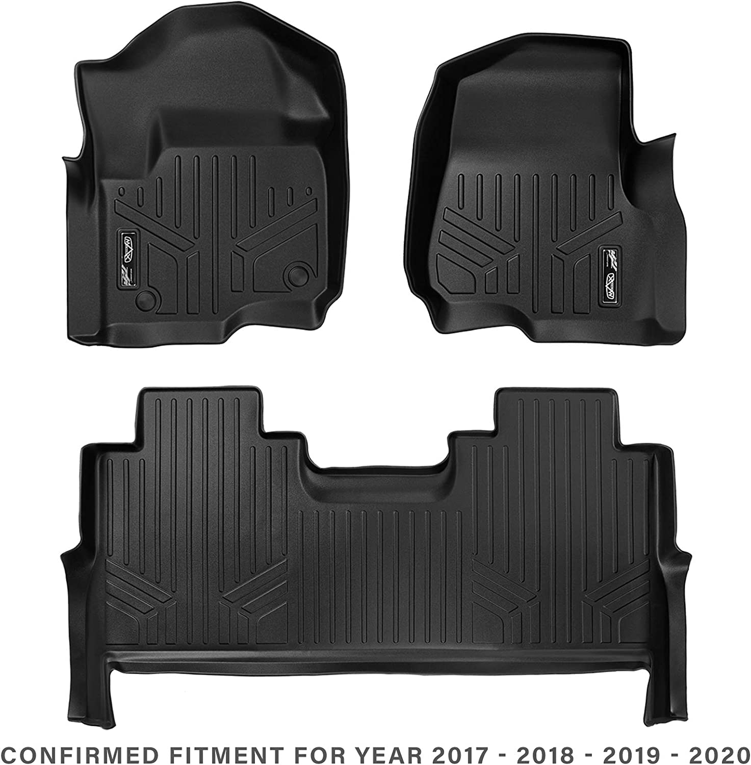 MAXFLOORMAT Floor Mats for Ford F-250 // F-350 2017 SuperCrew Cab with Front Row Bucket Seats 2 Row Set Black