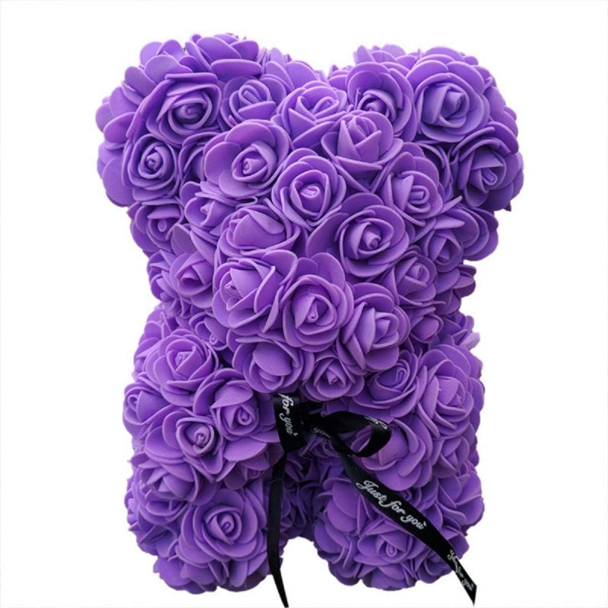 Oso de rosa de San Valentín creativo hecho a mano lindo jabón rosa oso construido con flores artificiales oso de juguete para regalo de cumpleaños regalo especial regalo de día