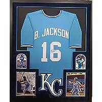 $379 » Bo Jackson Kansas City Royals Autograph Signed Custom Framed Jersey Suede Matted Black 4 Pic JSA Witnessed Certified