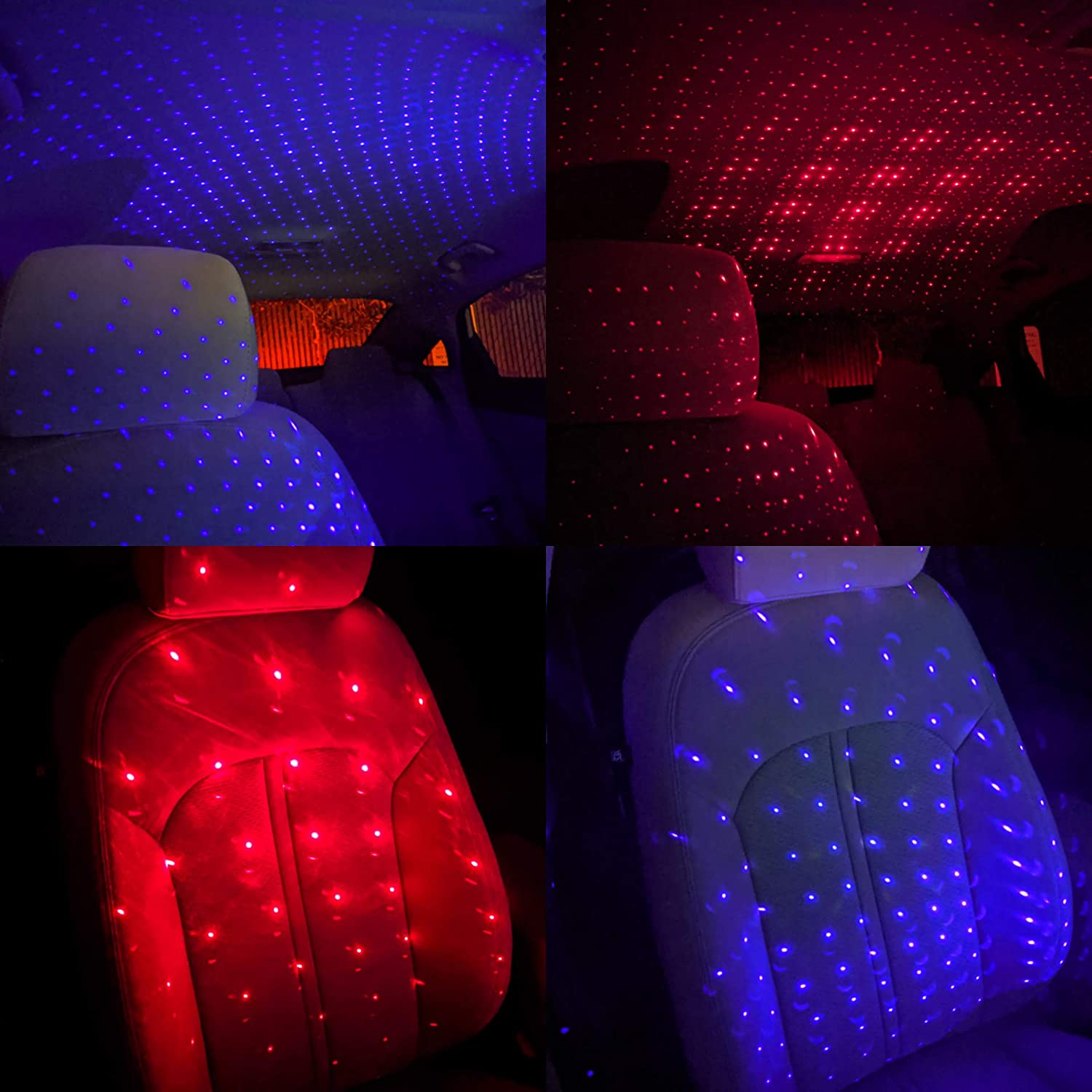 2PCS USB Star Night Light, 2 Colors - 7 Lighting Effects, Auto Roof Star Lights, Romantic Decorations Special Night Light for Bedroom, Car, Party, Ceiling and More- Plug and Play (Blue & Red)