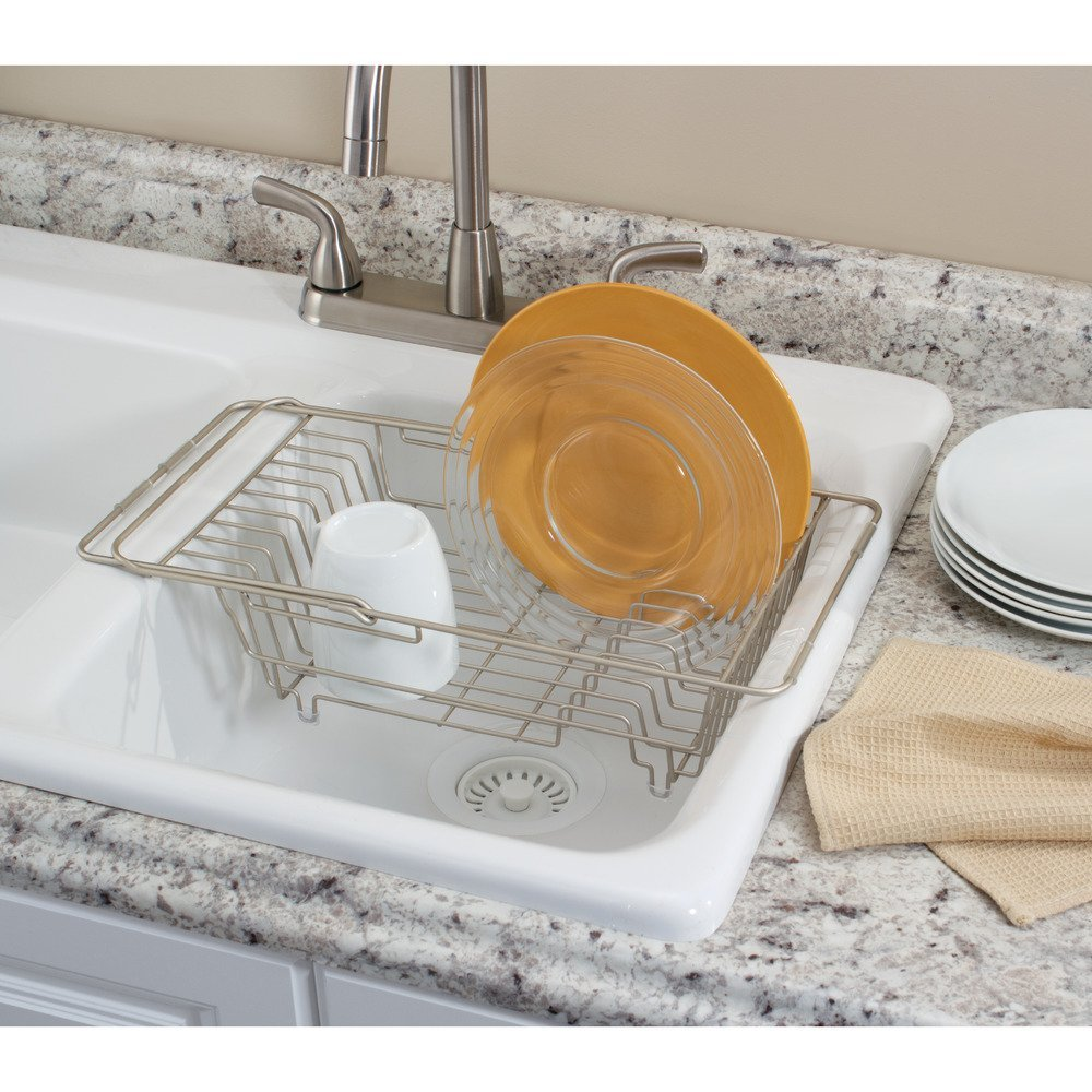 Amazon.com: InterDesign Classico Kitchen Over The Sink Dish Drainer Rack  For Drying Glasses, Silverware, Bowls, Plates   Satin: Home U0026 Kitchen