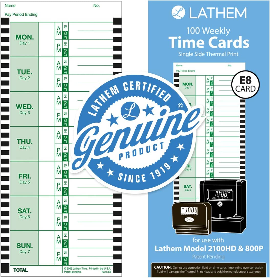 Lathem Weekly Thermal Print Time Cards, Single Sided, For Lathem 800P Time Clock, 9 Inch, 100 Pack (E8-100)