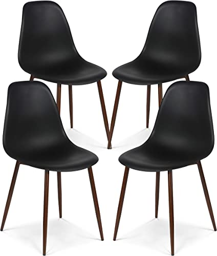 Poly and Bark Landon Contemporary Kitchen Dining Sculpted Mid-Century Side Chair in Black Set of 4