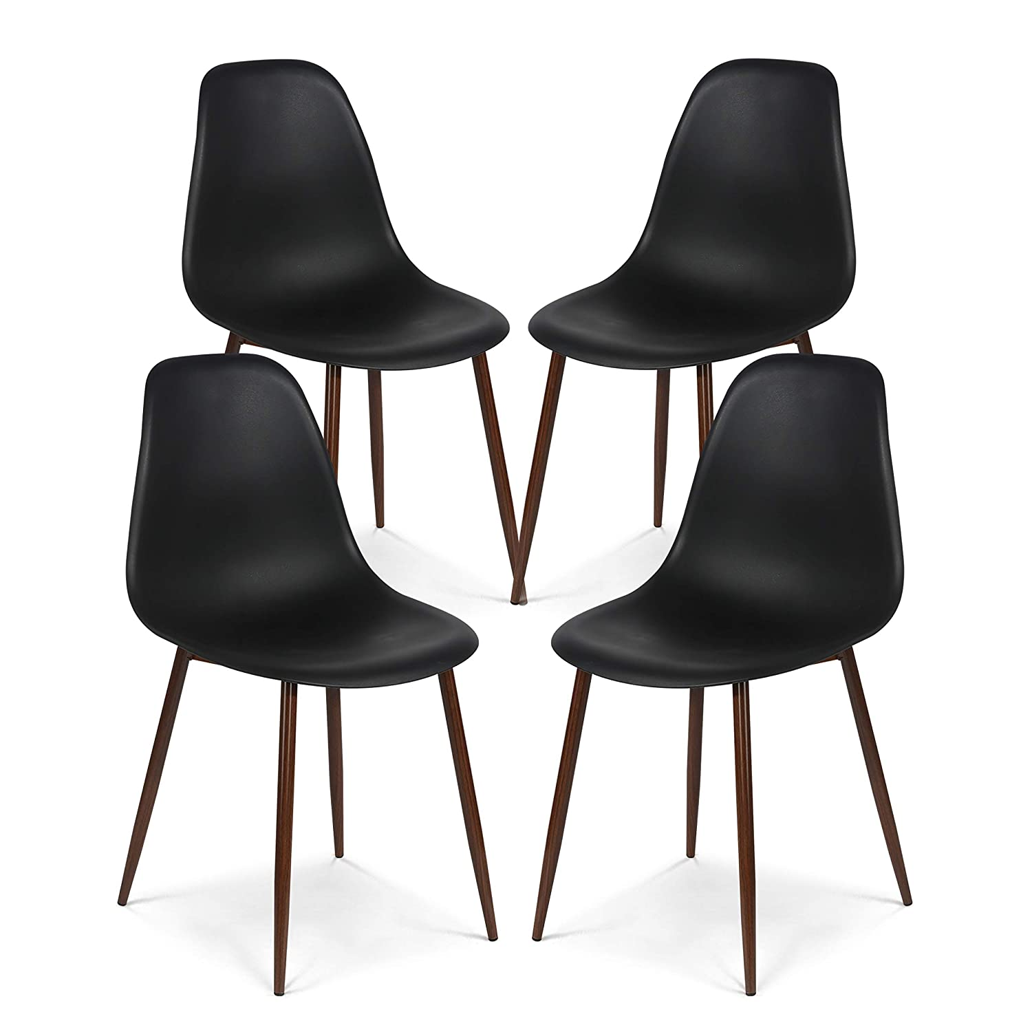 Poly and Bark Landon Contemporary Kitchen Dining Sculpted Mid-Century Side Chair in Black (Set of 4)