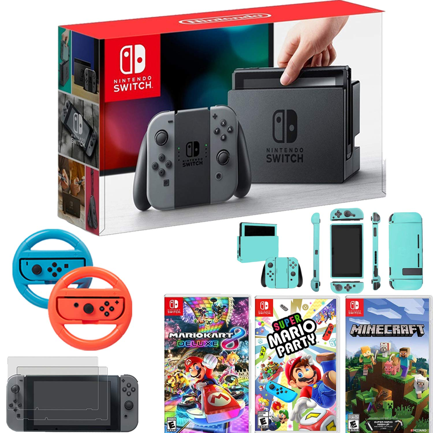 Nintendo Switch Console Gray Joy Con+Mario Kart 8 Deluxe,Super Mario Party + More Bundle
