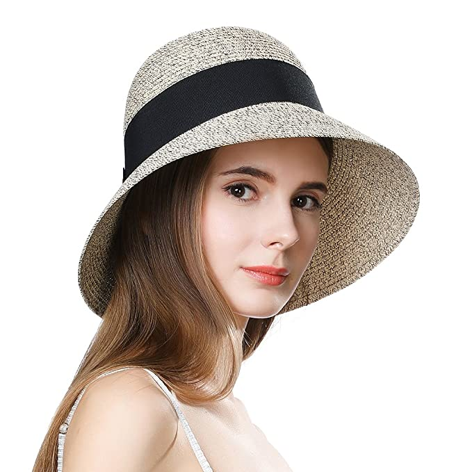 efd409545 Jeff & Aimy Womens UPF 50 + Summer Straw Beach Sun Hat Wide Brim Fashion  Fedora Packable & Adjustable