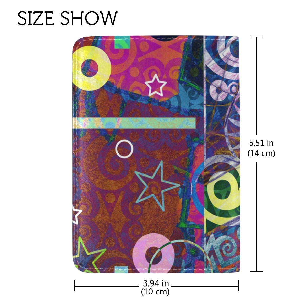 ALAZA Abstract Painting Wheel Star PU Leather Passport Holder Cover One Pocket