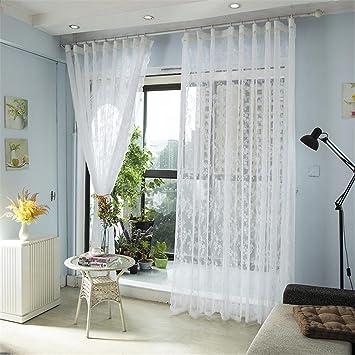 GUOCAIRONG® Gestickter Bloßer Tüll Vorhang Für Wohnzimmer Schlafzimmer  Weißer Voile Vorhang Gewebe