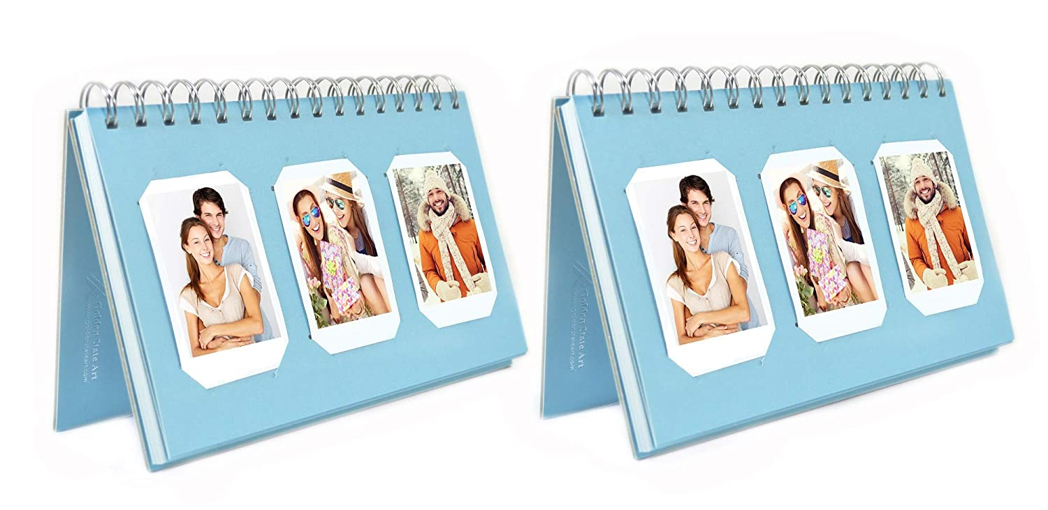 Photo Album Book Style 60 Pocket for Fuijufilm Instax Mini 7S 8 70 90 25 50S 8+ Film Golden State Art Pack of 2 Instax Frames Collection Light Blue Color