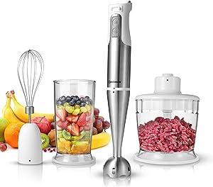 Hand Blender, HEIHOX 4-in-1 Multifunctional Hand Immersion Blender, Variable Speed 304 Stainless Steel Stick Blender, Mixing Beaker, Food Processor, Whisk Attachment, BPA-Free