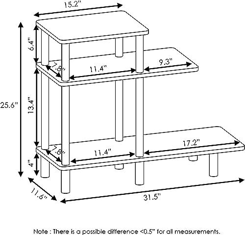 Furinno Turn-N-Tube 3-Tier Sofa Side Table