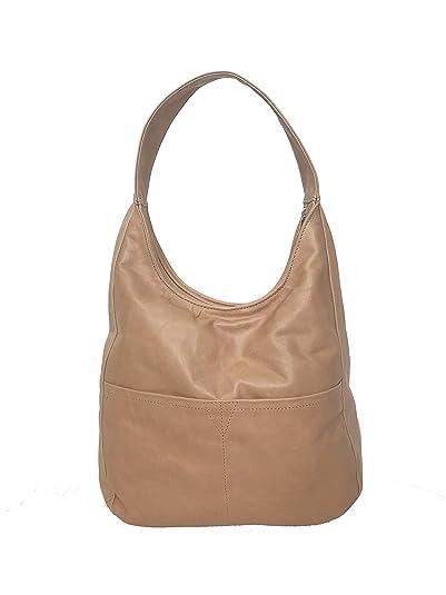 414d0ef279f5 Amazon.com  Fgalaze Nude Leather Hobo Bag
