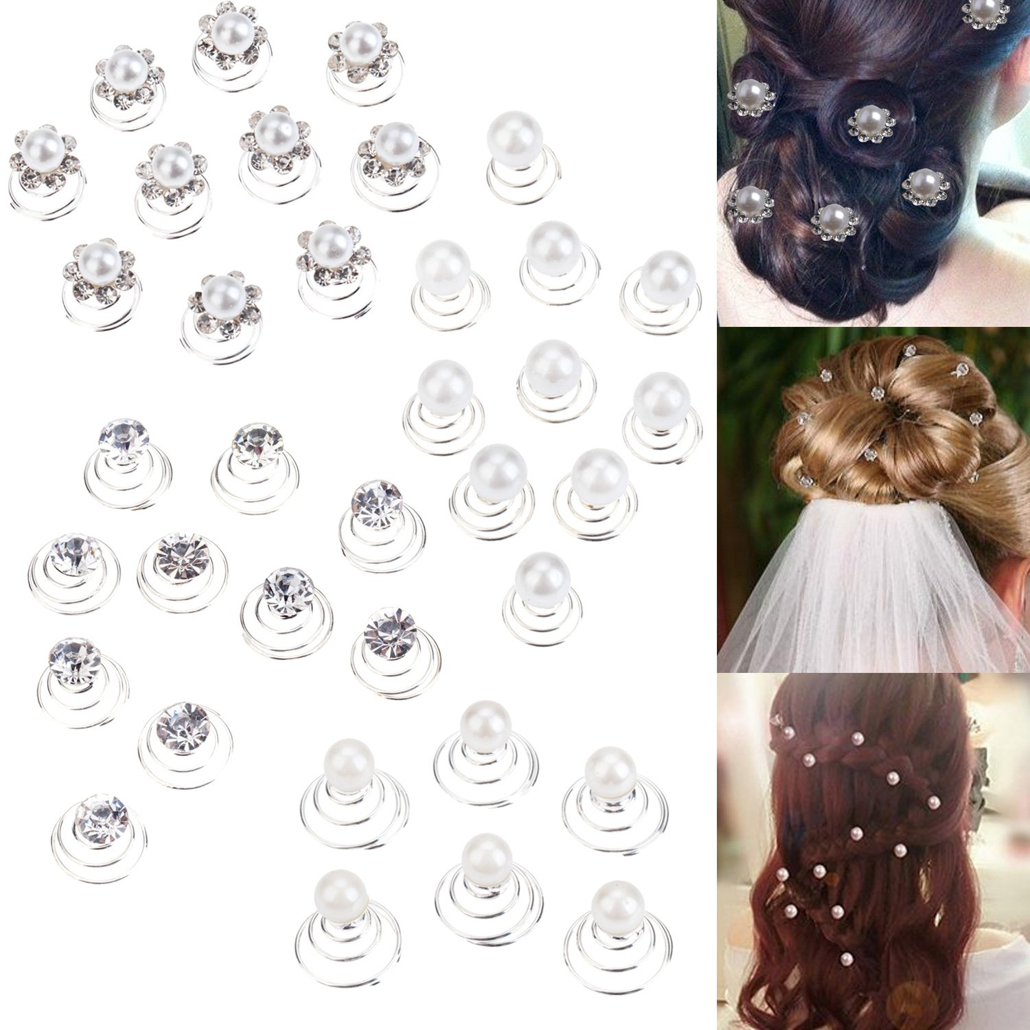 Set of 36pcs Silver Iron Spirals Hair Pins / Twists / Coils / Curlies / Weddings Brides Hairstyles / Proms / Balls Decorations With White And Champagne Pearls And Clear Rhinestones / Crystals By VAGA