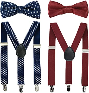 Color : Black LUOSI Braces Suspender Clip Toddler Causal Cute Kids Set Fashion Dot Children Party Baby Girl Bow Tie Boy Body Suit