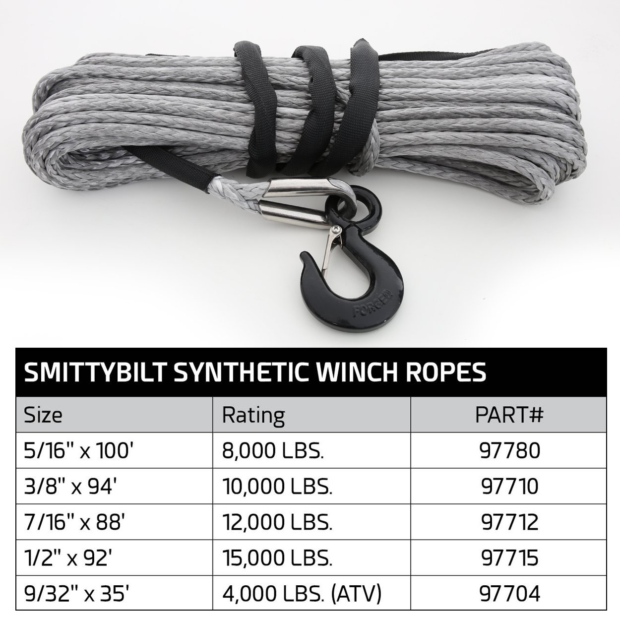 10,000 lbs. 3//8 x 94 Smittybilt 97710 XRC Universal Synthetic Winch Rope