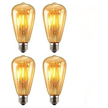 4 unidades Diseño antiguo Edison Bombilla LED, KINGCOO 6 W ST64 Vintage Edison intensidad regulable