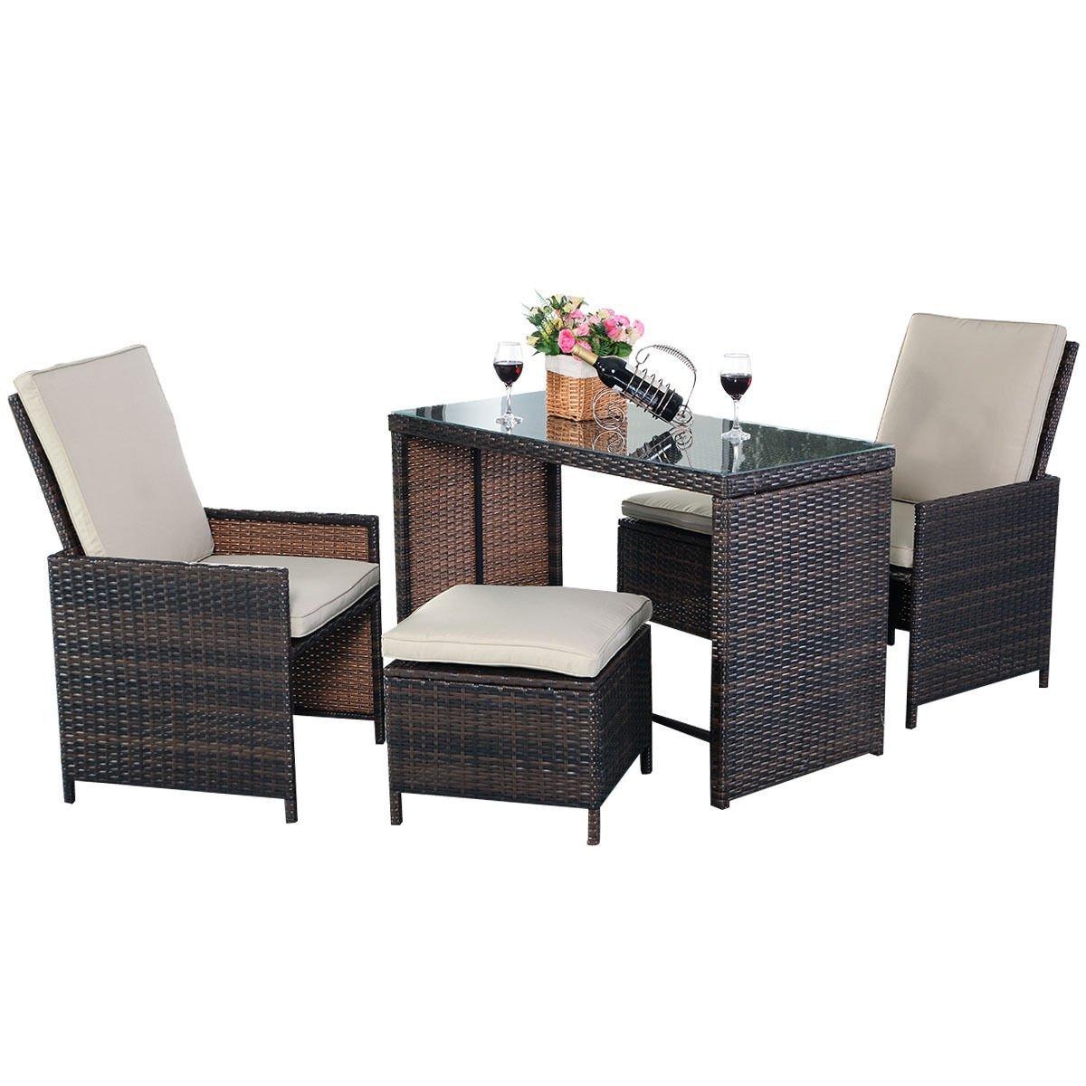 Amazon.com: Tangkula 5PCS Brown Cushioned Ottoman Rattan Patio Set Outdoor  Furniture Garden: Garden U0026 Outdoor