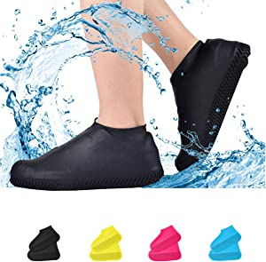 Waterproof Shoe Covers, Non-Slip Water Resistant Overshoes Silicone Rubber Rain Shoe Cover Protectors for Kids, Men, Women (Large, black)