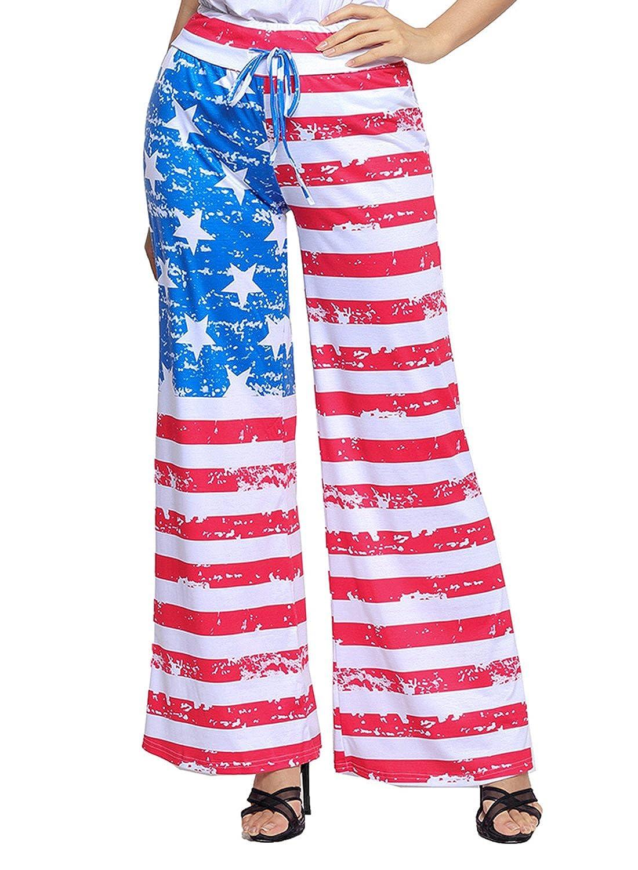 0f2655c9c24 LOSRLY Women Floral Print High Drawstring Waist Wide Leg Palazzo Pants Plus  Size-American Flag M at Amazon Women s Clothing store