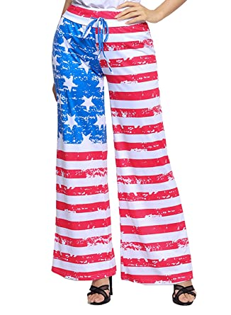4c724763d45b26 LOSRLY Women Floral Print High Drawstring Waist Wide Leg Palazzo Pants Plus  Size-American Flag