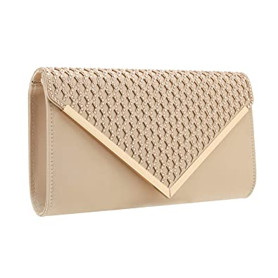 5616360eed Charming Tailor Elegant Satin Clutch Shimmering Rhinestones Laser-cut Flap  Prom Purse (Beige)
