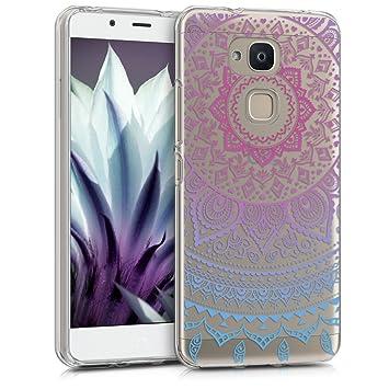 kwmobile Funda para bq Aquaris V - Carcasa de [TPU] para móvil y diseño de Sol hindú en [Azul/Rosa Fucsia/Transparente]