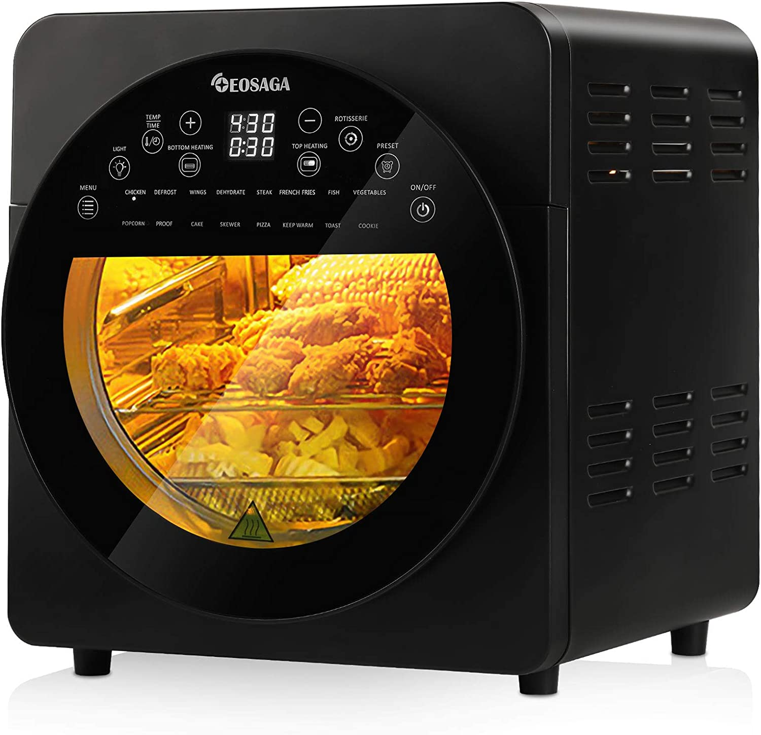 15.3QT Air Fryer Oven Digital 16-in-1 Convection Air Fryer Toaster Oven Combo Rotisserie & Dehydrator, Large Oilless Countertop Oven with LED Digital Touchscreen, Timer Temperature-8 Accessories 1700W