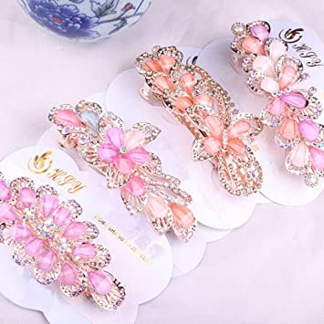New Fashion women Rhinestone Flower Barrettes Hair Clip Clamp Hairpin