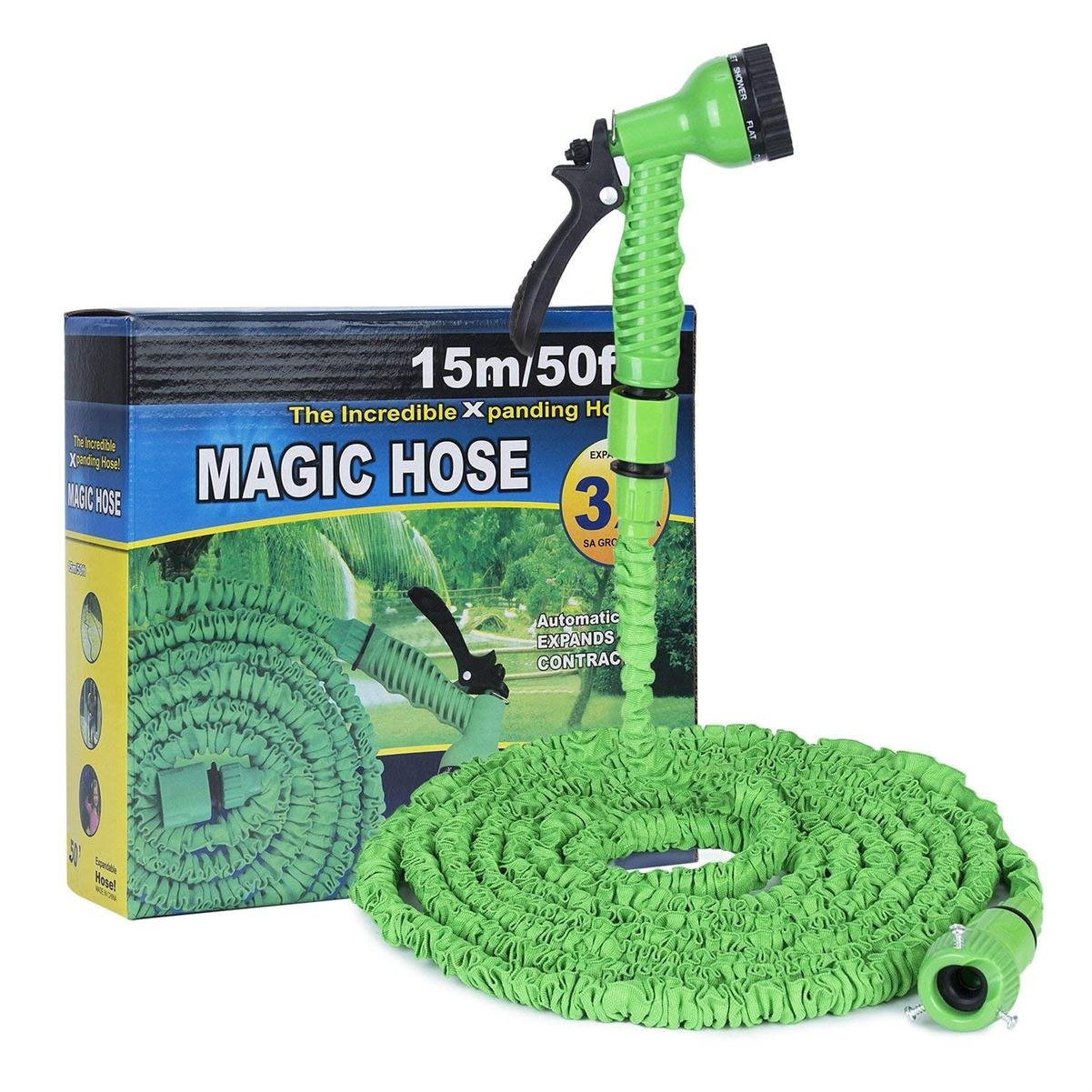 Hakkin Expandable Garden Hose Kit,Improved 50ft Magic Flexible Water Hose,7 in 1 Spray Gun Ajustable Nozzles for 7 Pattern High Pressure Power Washer
