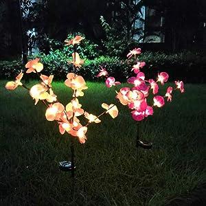 EpicGadget (2 Pack) Solar Orchid Flower Light, Outdoor Solar Flower Garden Stake Decorative Lights for Walkway Pathway Backyard Garden Christmas Decoration Parties (Warm White)