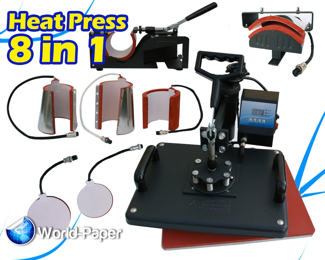 8in1 Heat Press Machine Digital Tshirt Mug Hat Cap Basaball Transfer Sublimation by world paper 8 in 1 heat press