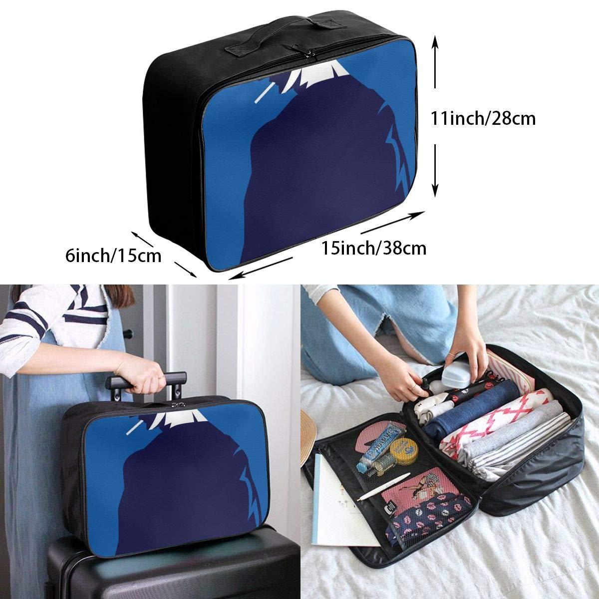 Smoking Boy Cartoon Silhouette Navy Blue Travel Lightweight Waterproof Folding Storage Portable Luggage Duffle Tote Bag Large Capacity In Trolley Handle Bags 6x11x15 Inch