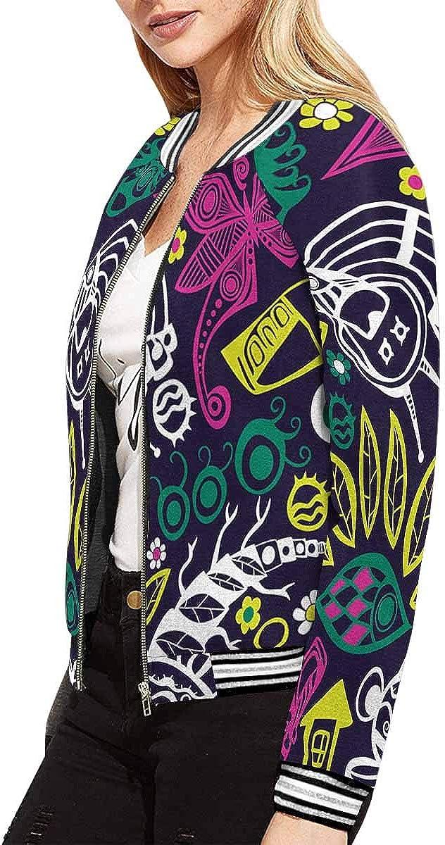 INTERESTPRINT Womens Fish Flower Butterfly Jacket Zipper Coat Outwear
