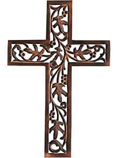 India Store US Hanging Wall Cross Brown 10x16 Inch Wooden Religious Decor Rustic Cross for Wall of Crosses