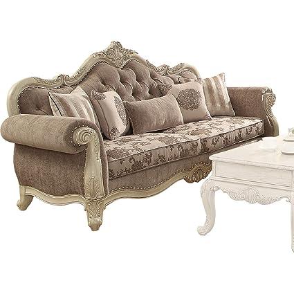 b1ca625f629d Amazon.com: ACME Ragenardus Sofa w/5 Pillows, Gray Fabric & Antique White  Vintage/Traditional/Gray Fabric & Antique White/: Kitchen & Dining