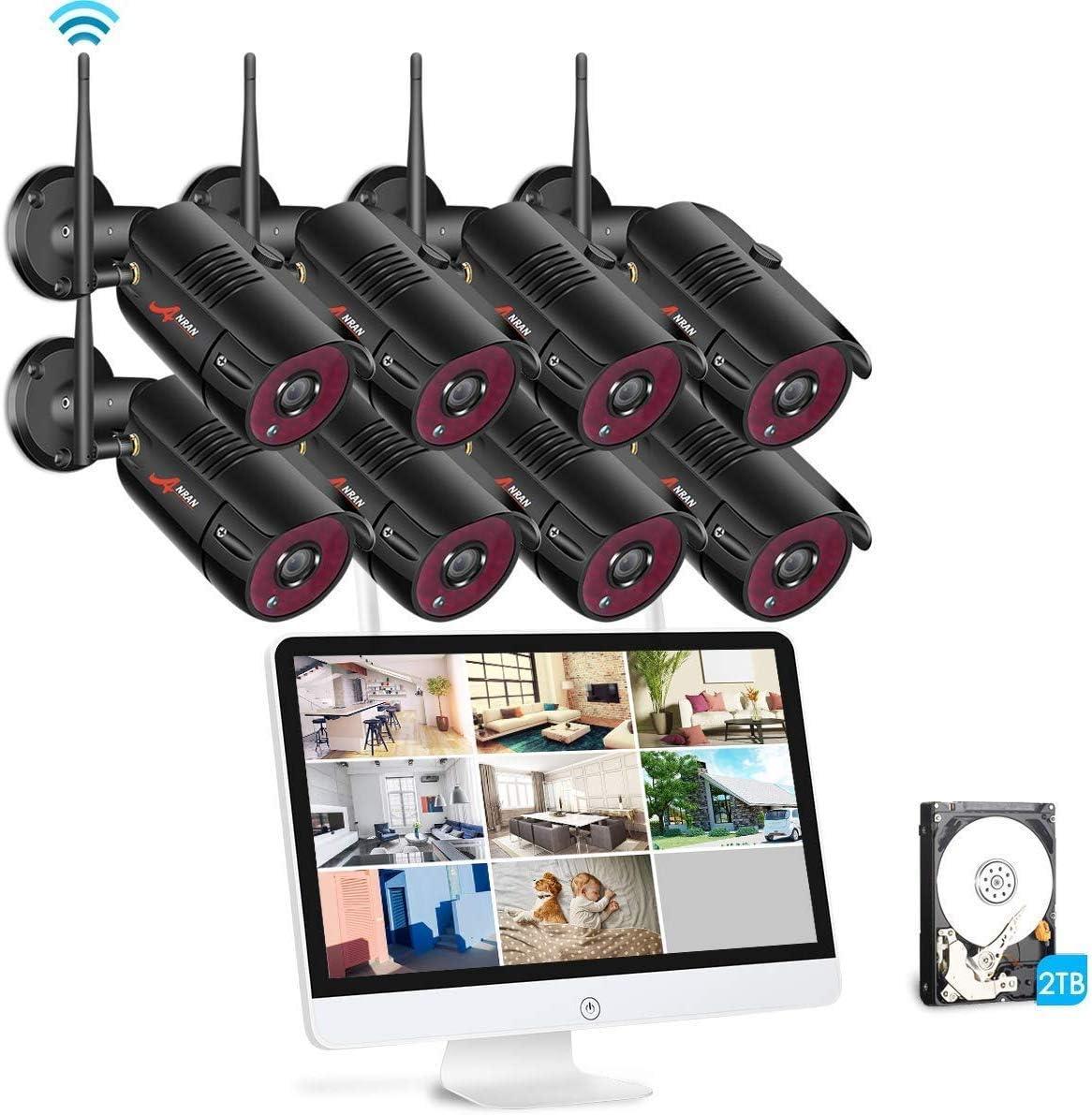 【Todo en Uno】SWINWAY 1080P Kit Cámaras Seguridad Inalambricas con Monitor de 15.6 Pulgadas 8CH Kit Videovigilancia WiFi con Pantalla 8 Cámaras de Vigilancia con 2TB HDD Dedección de Movimiento