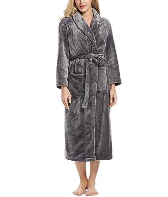 1dd43170b8 Skylin One Piece Pajamas Women Fleece Kimono Robe Slip Nightwear (Dark Gray