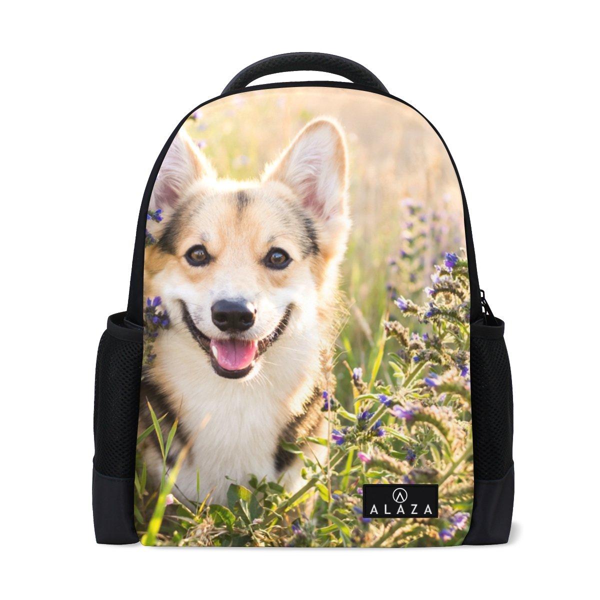 My Daily Happy Welsh Corgi Dog Flower Backpack 14 Inch Laptop Daypack Bookbag for Travel College School