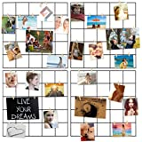 Photo Hanging Display for Wall Decor,4 Pcs Multifunction Metal Mesh Wire Grid Panel With 30 Clips