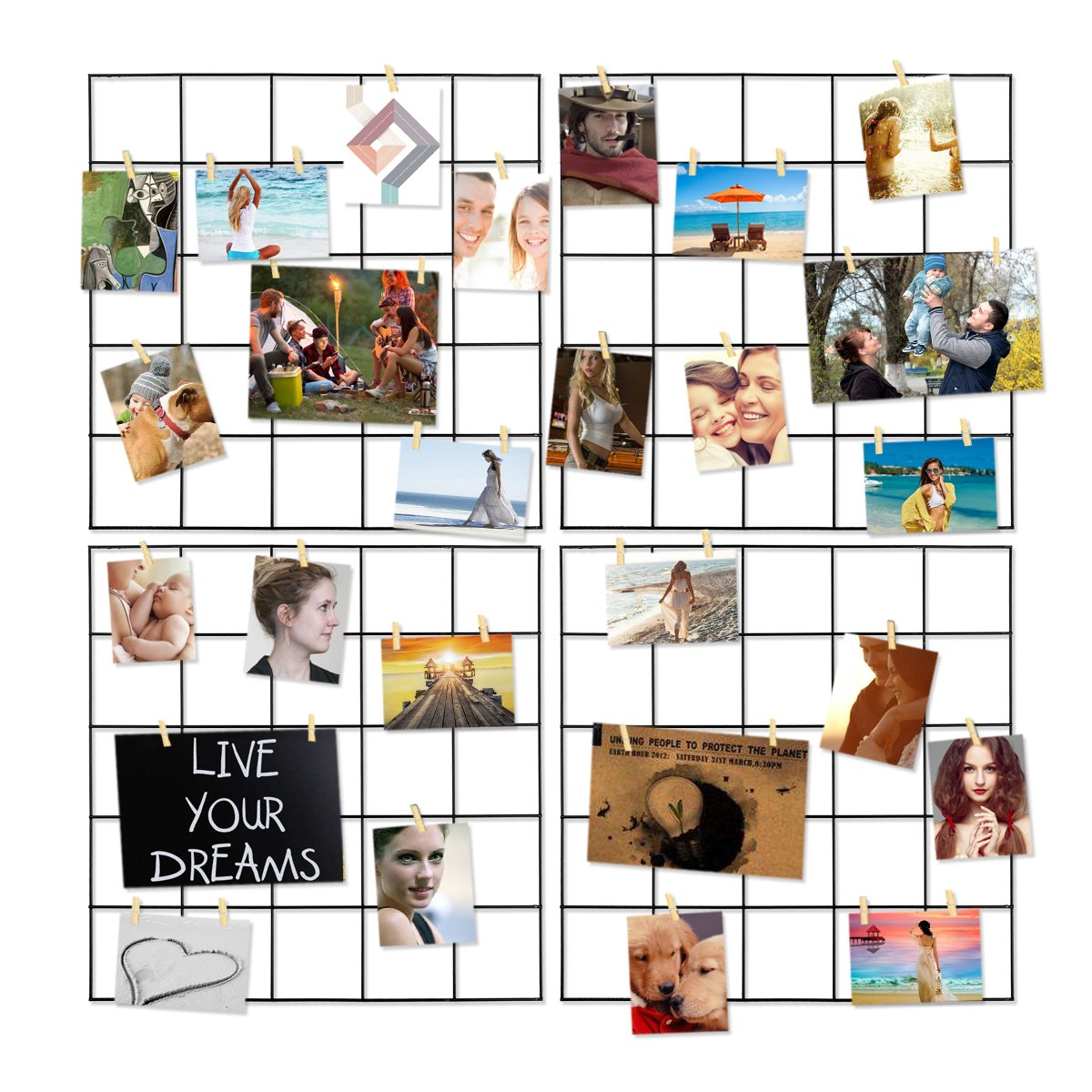 Photo Hanging Display for Wall Decor,4 Pcs Multifunction Metal Mesh Wire Grid Panel With 30 Clips by Hpwai
