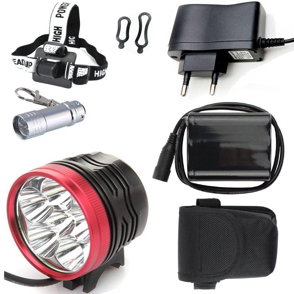 Phare Lampe Frontale pour v/élo Bicyclette Cyclisme Constefire Lampe Torche Frontale /à LED CREE XM-L T6 Max 9800 LM Lumen 7 x XML T6 LED Phare de Phare /&Mini Porte-cl/és Torche M/étal