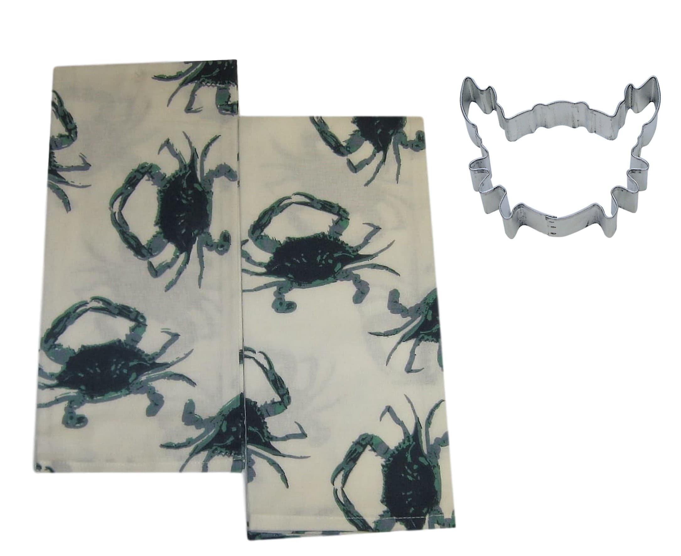 Mixed Blue Crabs Cotton Dish Towels Cookie Cutter Kitchen Set Bundle (3 Items)