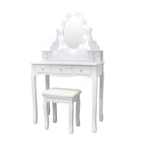Vanity Set Oval Mirror Surrounds 10 Small Light Bulb and Cushioned Stool