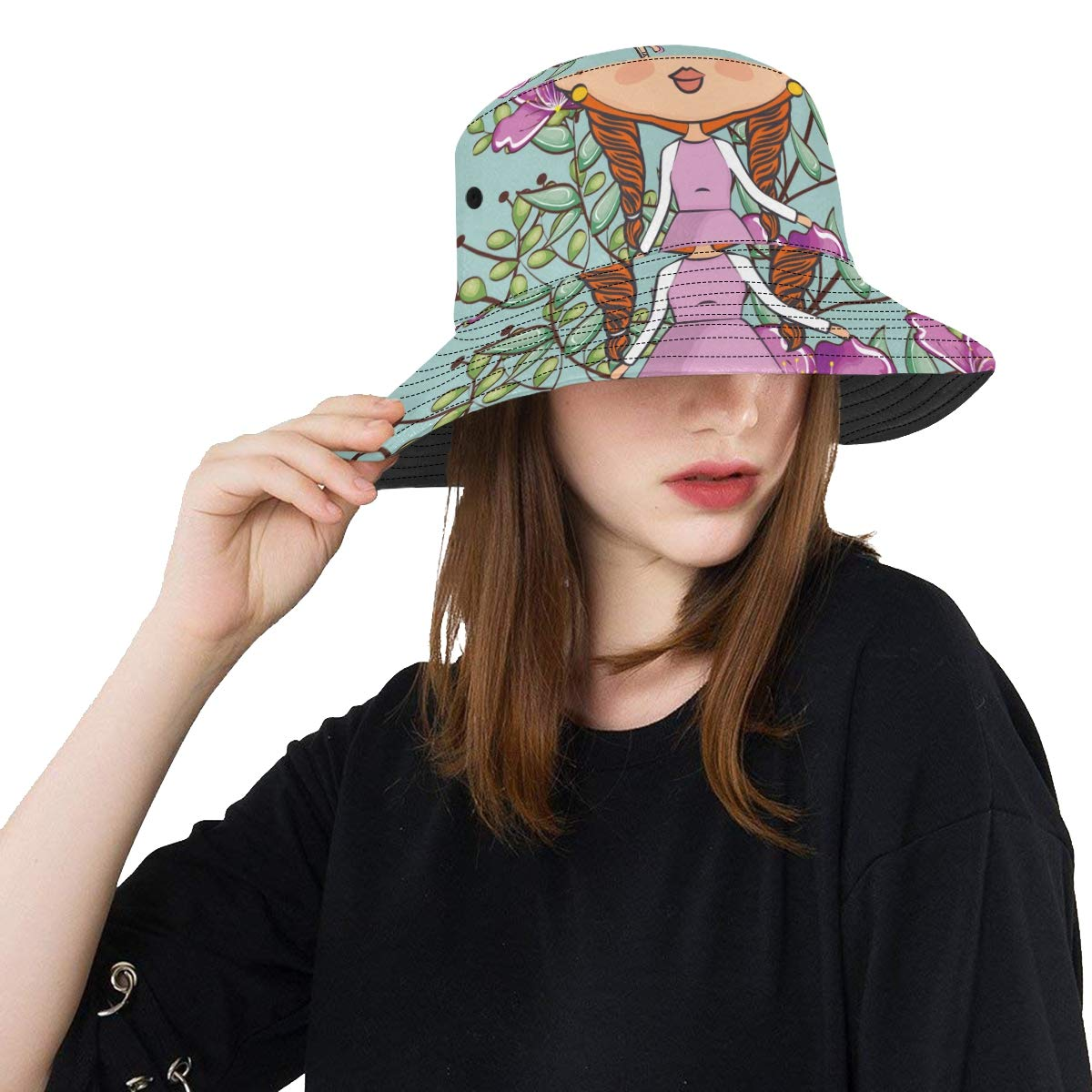 Elegant Lady with Beautiful Flower New Summer Unisex Cotton Fashion Fishing Sun Bucket Hats for Kid Teens Women and Men with Customize Top Packable Fisherman Cap for Outdoor Travel