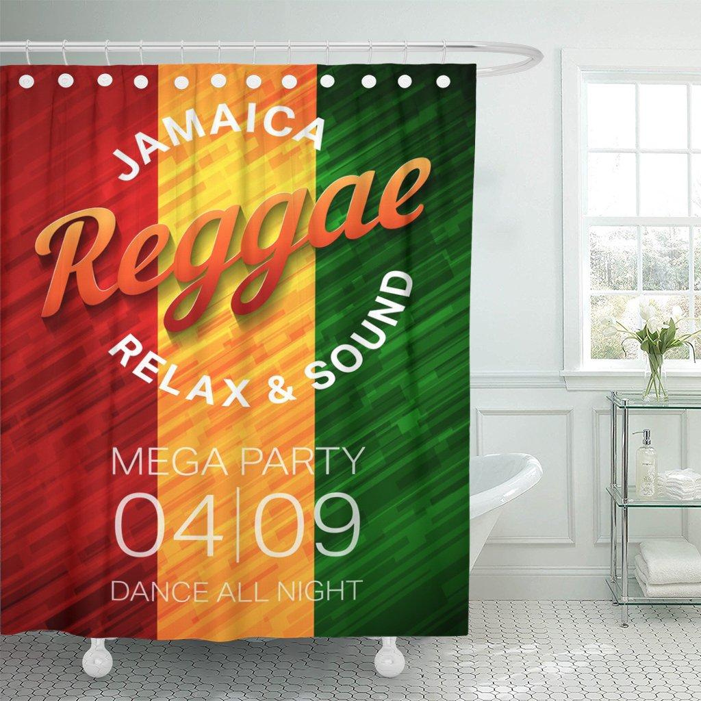 Emvency Shower Curtain Colorful Reggae Music Party Rastafarian Dance Club Conce Green Waterproof Polyester Fabric 72 x 78 inches Set with Hooks