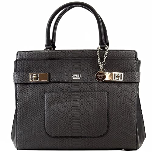 GUESS Milo Carryall Satchel (Black)  Handbags  Amazon.com e1d1bbe3be17d