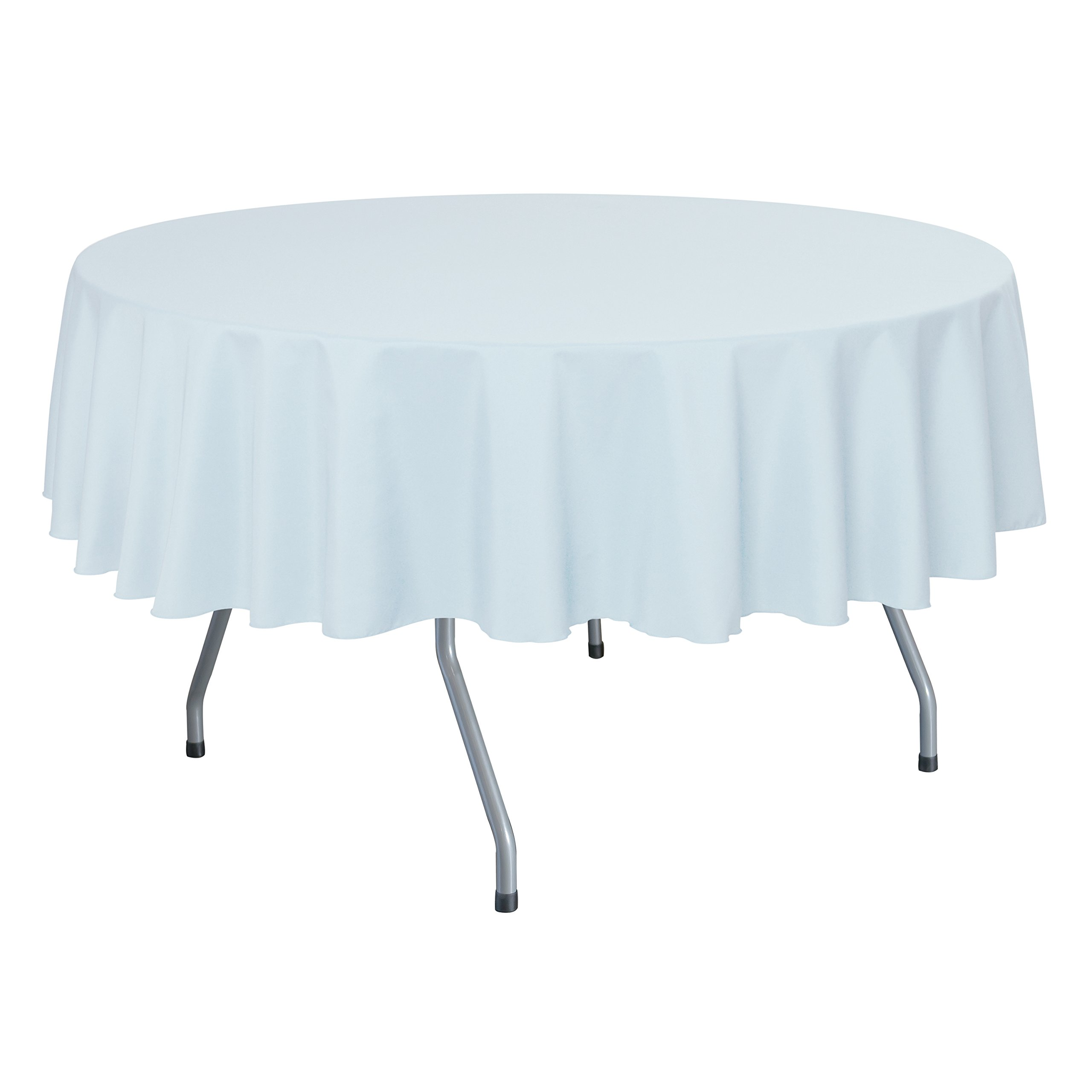 Ultimate Textile (10 Pack) 70-Inch Round Polyester Linen Tablecloth - for Wedding, Restaurant or Banquet use, Ice Blue