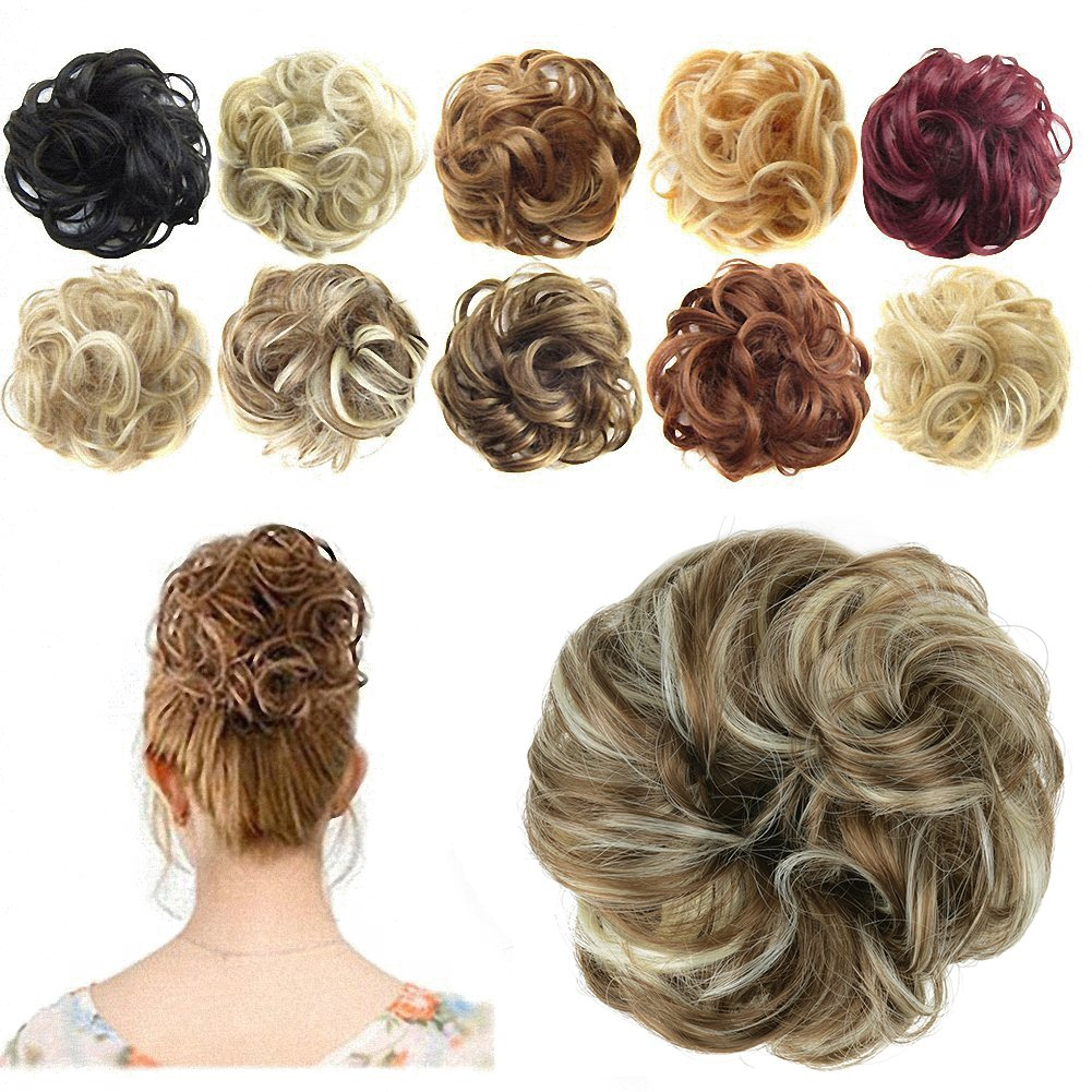 Amazon hair extensions curly or messy drawstring updo full feshfen scrunchy scrunchie hair bun updo hairpiece ponytail hair extensions wavy curly messy hair bun extensions pmusecretfo Images